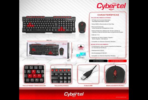 Kit Prince T2000 Teclado y Mouse USB Cybertel