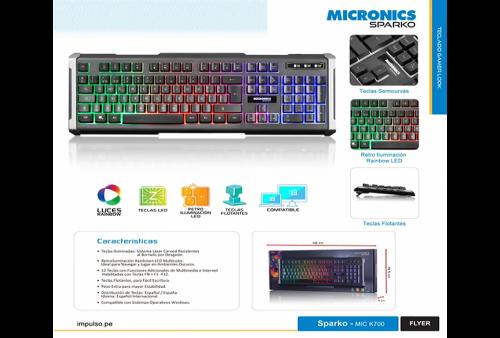 Teclado Micronics Sparko MIC 700 Multimedia Led