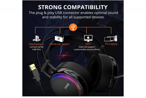 Audifono Gamer Tronsmart Glary para PC, PS4 Mac Luces LED