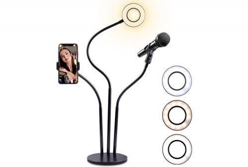 Aro de Luz con soporte para Micrófono y Celular