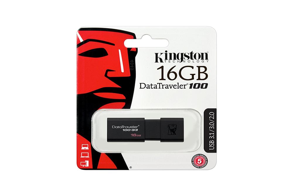 MEMORIA USB 16GB KINGSTON DT100G3 3.0 NEGRO