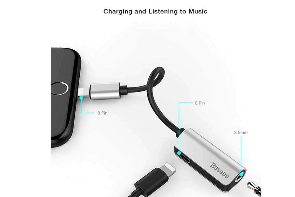 Adaptador Baseus L32 para Iphone a Tipo Salida de Audio 3.5 mm y Carga